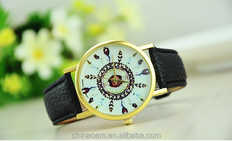 2Shining 2015 Womens Vintage Feather Dial Leather Band Quartz Analog Unique Wrist Watches Free shipping & Wholesales