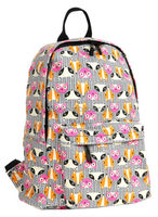 Printed Canvas Backpack Fox Pattern