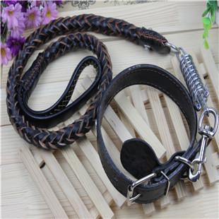 Real cowhide traction rope collar set collar <strong>dog</strong> personalized