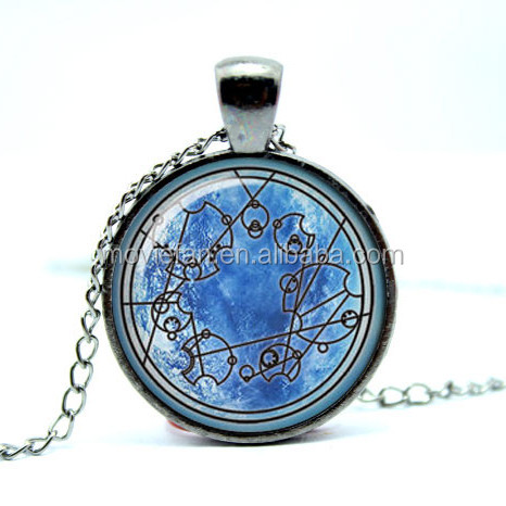 Doctor Who Jewelry dr who necklace doctor who time lord Gallifreyan pendant Glass Photo Cabochon Necklace