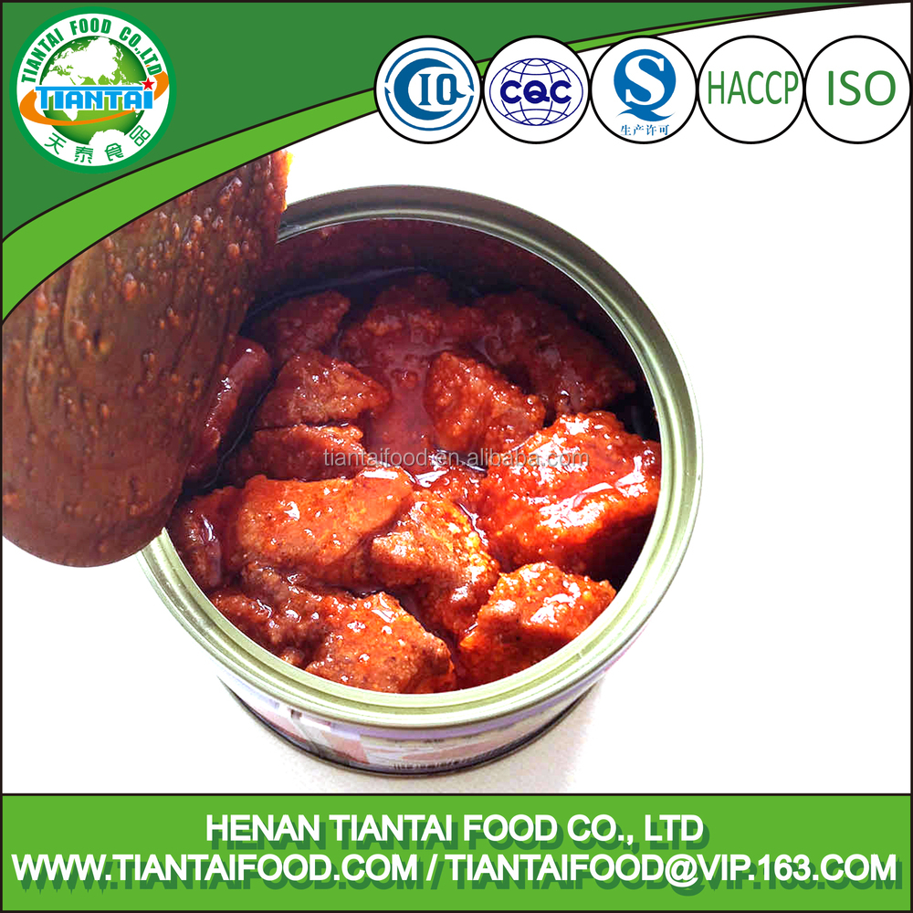 instant food canned spiced pork cubes