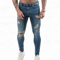 Jeans pant men cheap skinny stretch ripped jeans
