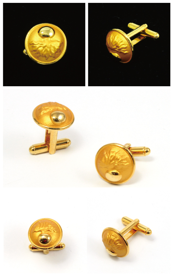 Premium 3D Gold Plated Cufflinks for Business Gift