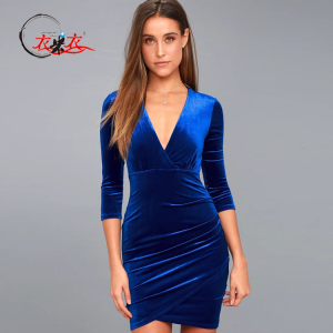 820f278daf3a Women-Elegant-Velvet-Dress-Royal-Blue-Plunge.jpg_300x300.jpg
