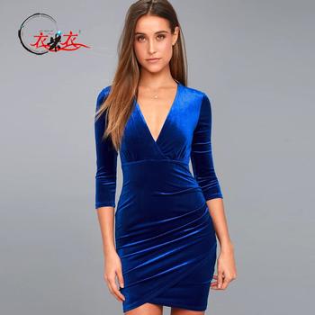 c2a46e3d809d Women Elegant Velvet Dress Royal Blue Plunge Neckline Velvet Sexy Bodycon  Dress