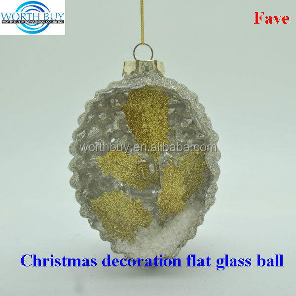 Golden maple leave in pine corn decorated clear glass christmas balls wholesale