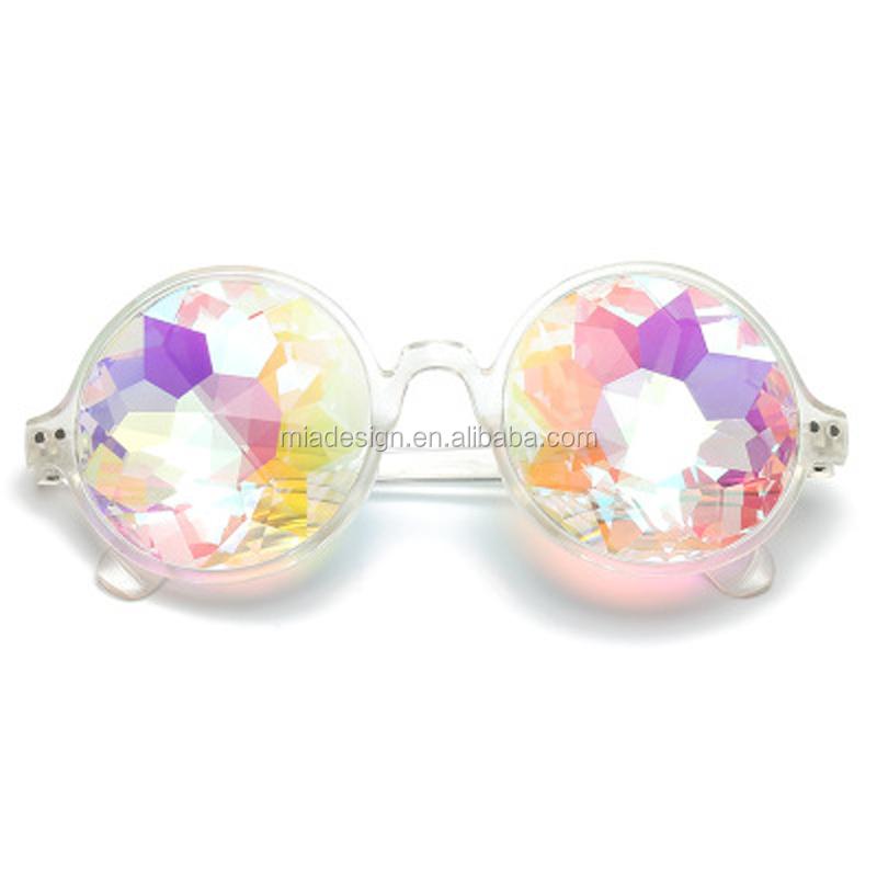 Commercio all'ingrosso alla moda Arcobaleno Occhiali Da Sole Caleidoscopio Occhiali Con Rotondo Fram freddo mosaico di vetri del partito