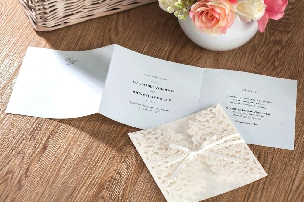 WISHMADE 2017 New Design White Ribbon Elegant Wedding Invitation ...