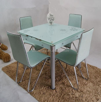 New Model Glass Top Dining Table Extendable Extendable Dining