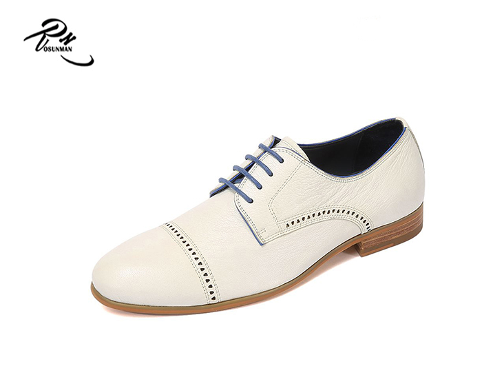 Fashional men wedding shoes pure leather white shoes