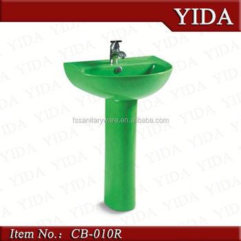 Charmant Bathroom Vanity Water Closet Elegent Shape, Green Pedestal Basin, Two Piece  Wash Basin