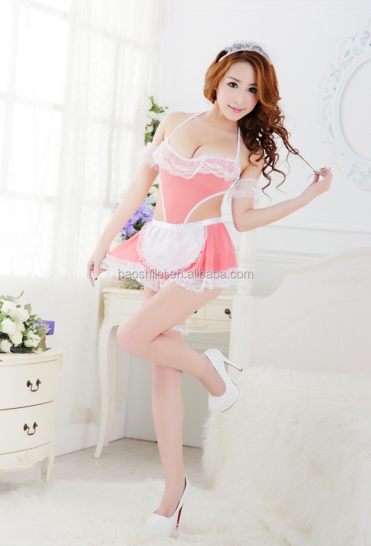 Japanese Women Cosplay Cook Girl Transparent Sexy Nude Chemise Asian  Lingerie