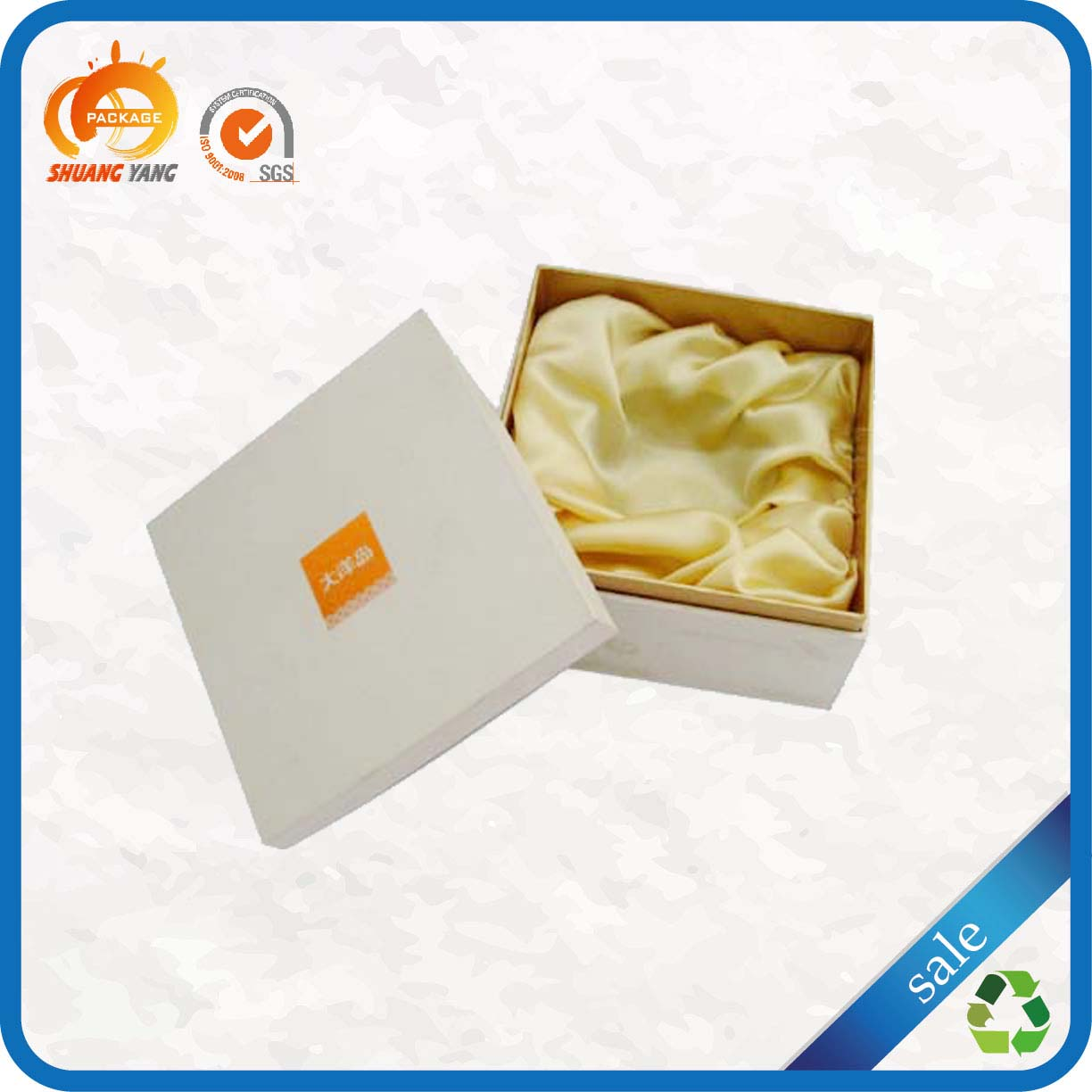High end quality large offset printing satin lined white gift boxes