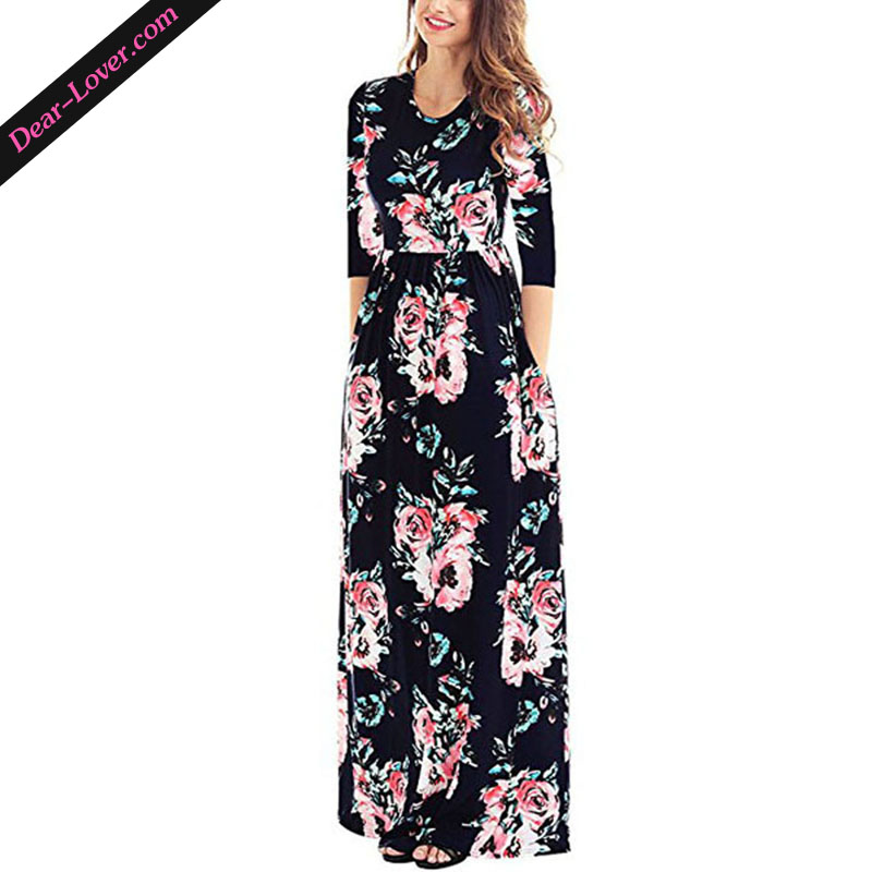 Cheap And Beautiful Long 3/4 Sleeve Ladies Casual Dresses Pictures