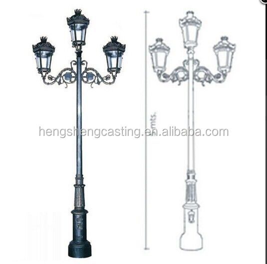Light Pole Design: Aluminium Single Arm Outdoor Lighting Pole Cast Iron