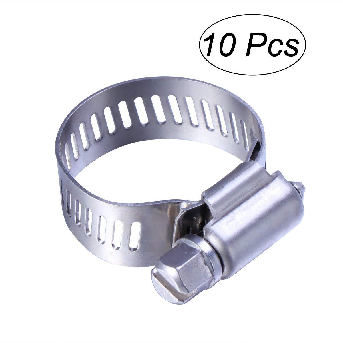 UEETEK 10 Pack Heavy Duty Adjustable Stainless Steel Worm Gear Hose Clamps Miniature Power-Seal Worm-Drive Kit 14mm-27mm