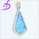 925 sterling silver opal pendant insert synthetic bule fire opal with micro pave setting white CZ