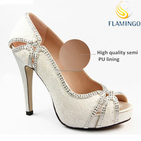 FLAMINGO LATEST ODM OEM crystal wedding shoes for women 2016