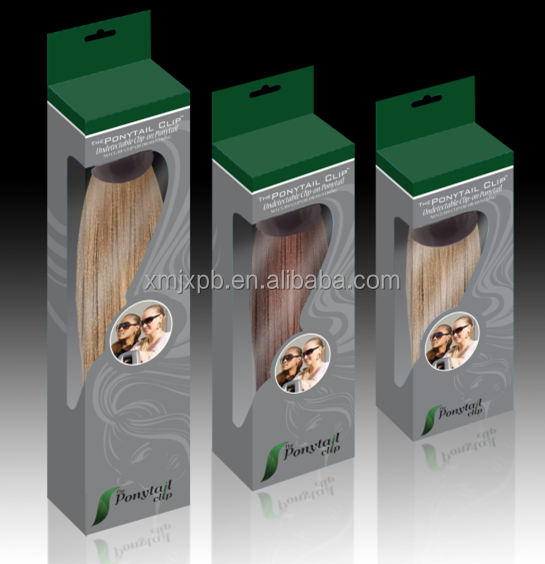 Good quality clear plastic box custom package for hair extensions