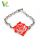 Customized trendy Zinc alloy Metal Rose Nickel O Ring Souvenir Bangle Bracelet