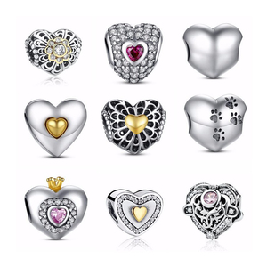 925 Sterling Silver Heart Charms Bead For Jewelry Making