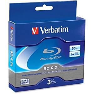 "Verbatim Blu. Ray Dual Layer Bd. R Dl 6X Disc . 50Gb . 120Mm Standard . 3 Pack Jewel Case ""Product Type: Storage Media/Optical Media"""