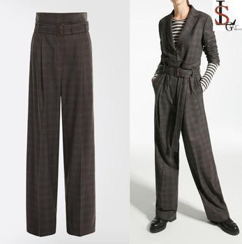 5e6798744cf18 2019 latest style fashion popular office lady wool flannel trousers women  pants wide leg style