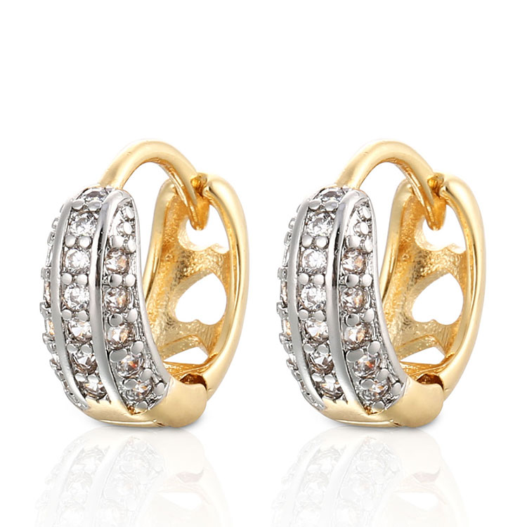 2018 HD Fashion Design Women Two Colorful Earring 18K and White Gold Plated CZ Huggice Earring