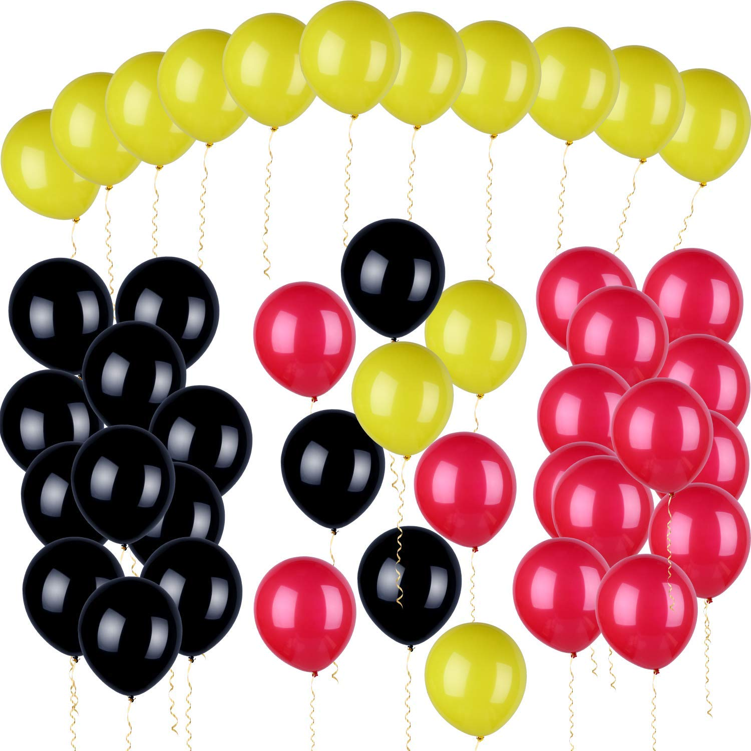 Gejoy 60 Pieces Mickey Color Latex Balloons Red Yellow Black Balloons for Themed Birthday Baby Shower Party Decorations