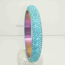 Hot New Products Stainless Steel Bright Blue Diamond Women Promotional Bangle Jewelry