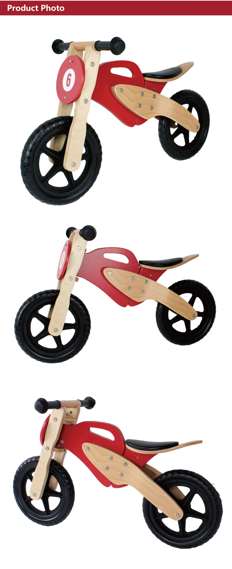 "12"" Motor Bikes with Light use Plastic Wheel Wooden Balance Bicycle as Child Toy"
