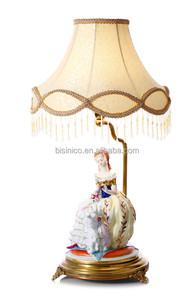 European Style Decorative Figurine Statue Lamp With Shade, Home Decor Antique Lady Figurine Ceramic Table Lamp