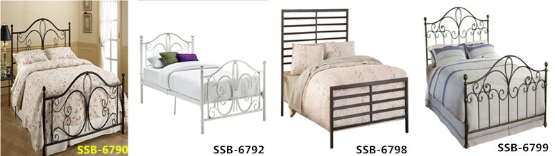 European Style Design Factory Low Price Bedroom Furniture Stainless Steel Bed Beds In