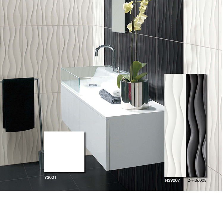 Bathroom Tiles Malaysia full body porcelain bathroom black white wall 3d printing ceramic