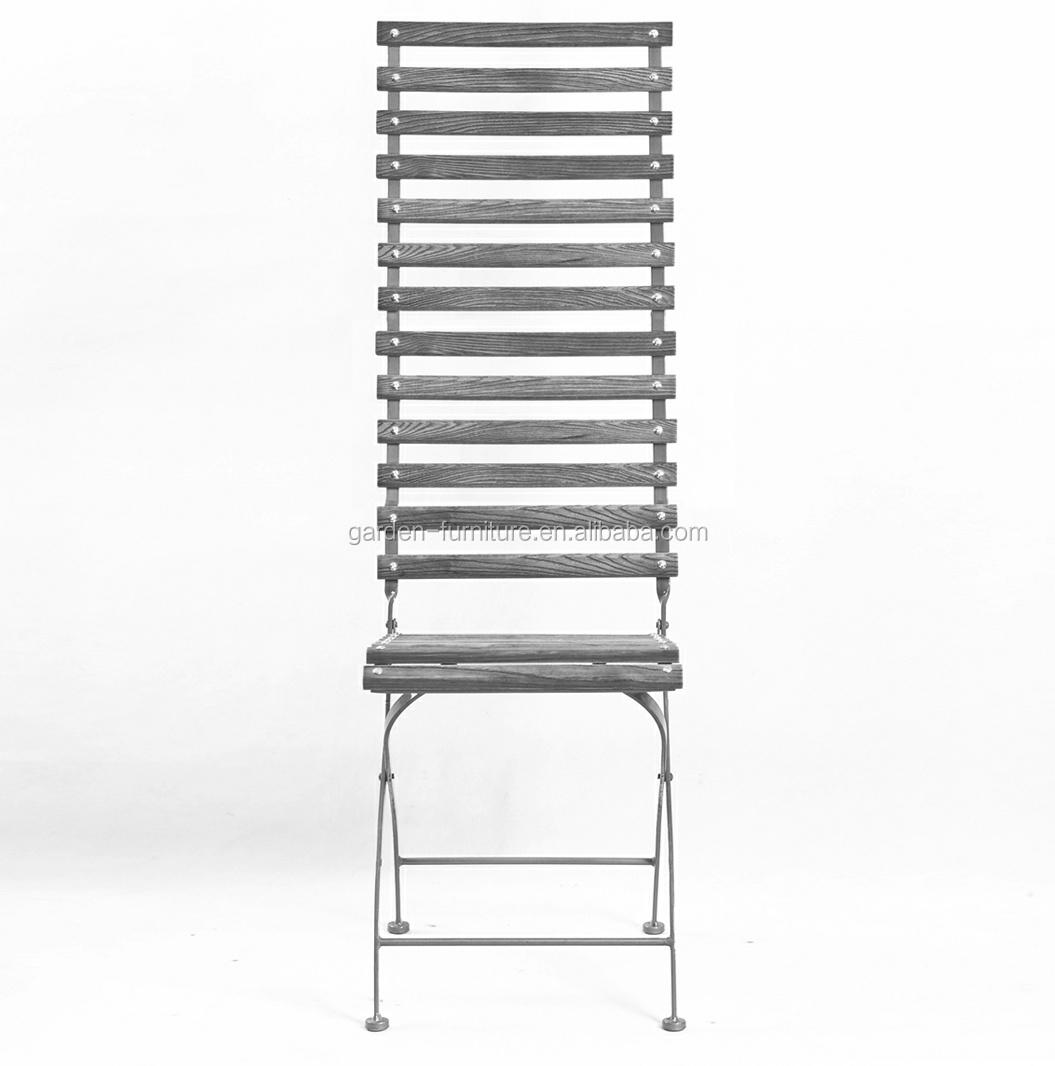 Nice Leisure Ways Outdoor Furniture Folding Chair, Long Seat Back Metal Wooden  Garden Chair