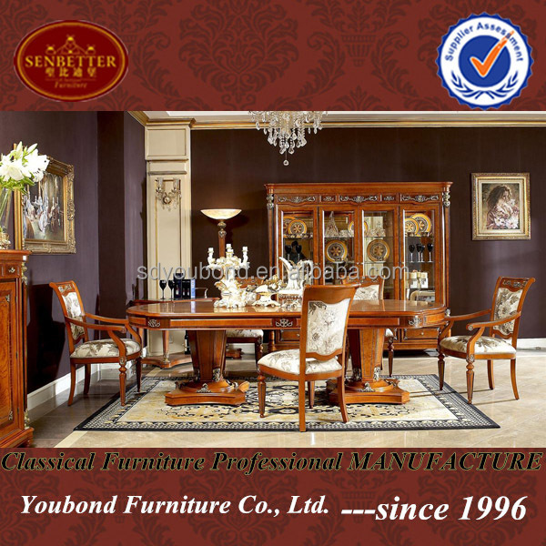 0029 italy classic style functional wooden dining room set heavy