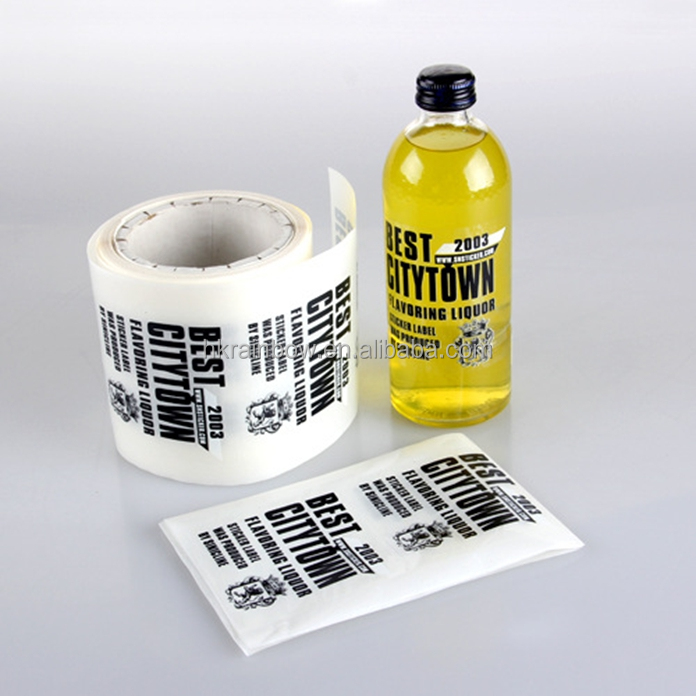 Customized design plastic water proof printed label transparent bottle stickers in roll