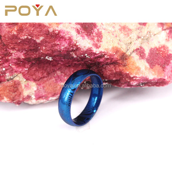 POYA Jewelry 8mm Blue Plated Damascus Steel Mens Wedding Ring Dome Style Rare Damascus Wedding Band