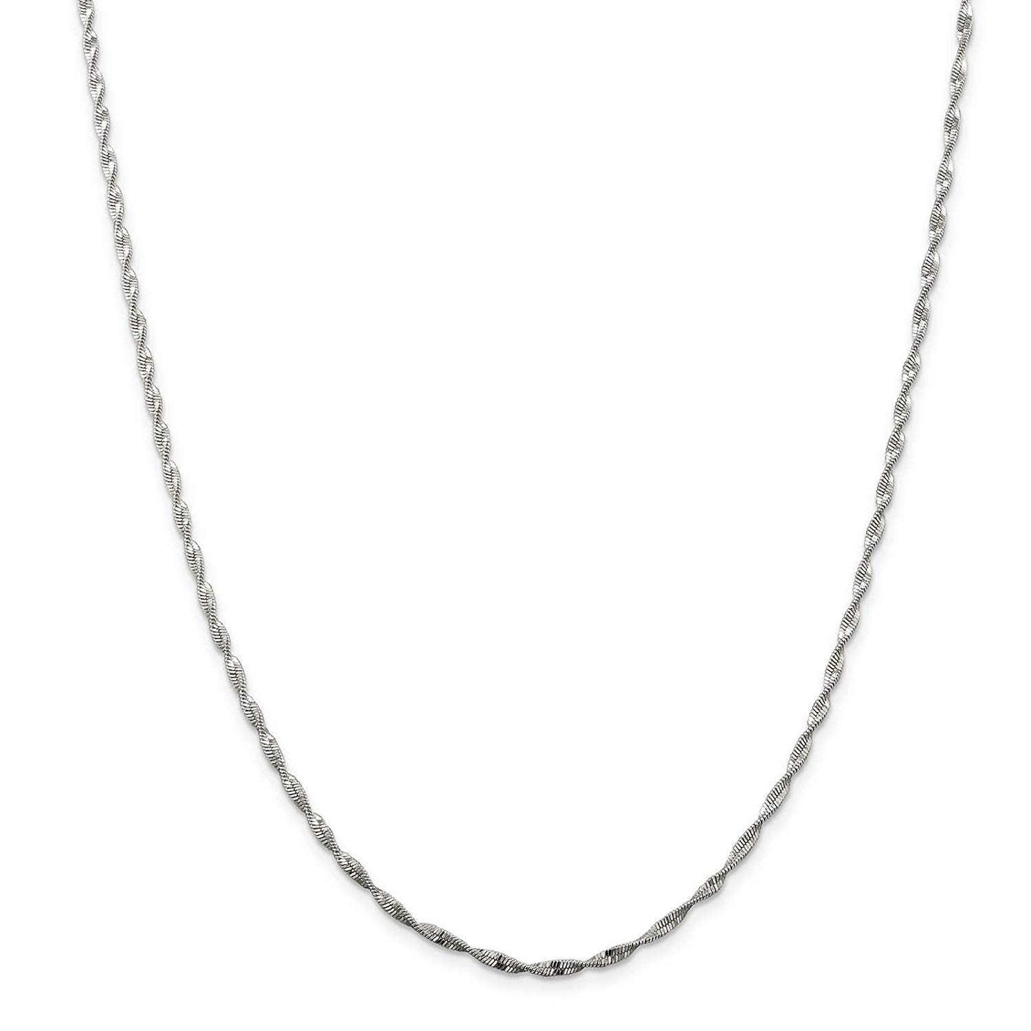 c0c6fbec0e25ca Get Quotations · 925 Sterling Silver 2mm Twisted Herringbone Chain Necklace  7
