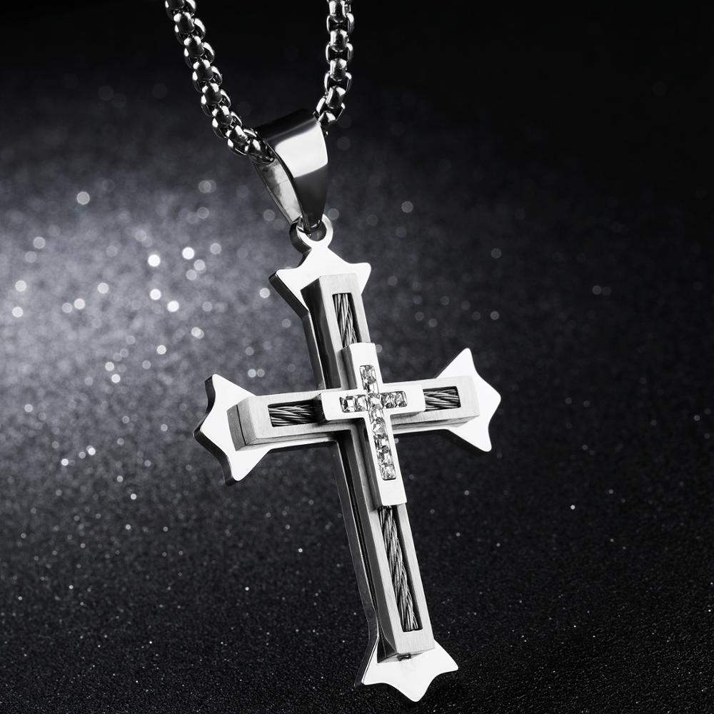 1003910cc346 2018 nueva tendencia de moda para hombre accesorios de la joyería de plata  doble cruz hombres