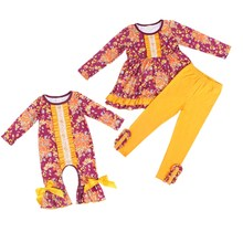 Fall Girls Boutique Clothing Baby Floral Outfits Baby Girls Sister Set