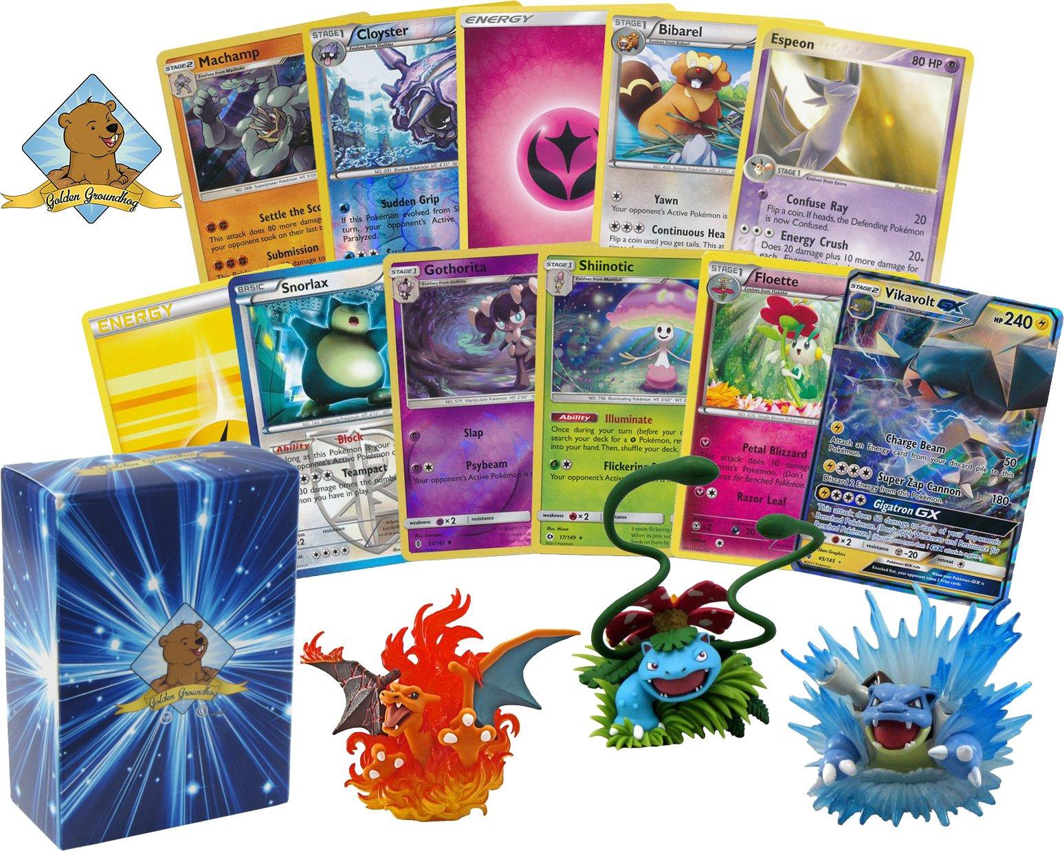 100 Pokemon Card Lot Featuring 1 GX and 1 Original Starter Pokemon Figure (Charizard, Blastoise, Venusaur)! Foils Rares Holos Energy! Includes Golden Groundhog Deck Box!