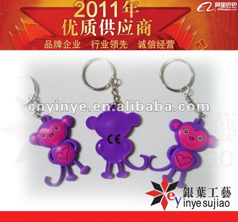 CE monkey rubber key rings