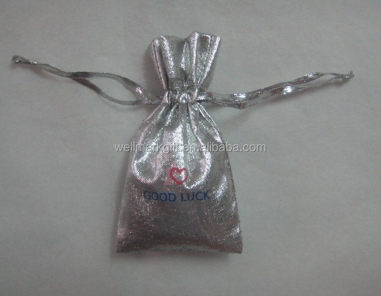 Metallic Silver Fabric Gift Bag Pouch