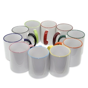 sunmeta 11oz sublimation blank enamel handle color ceramic mug