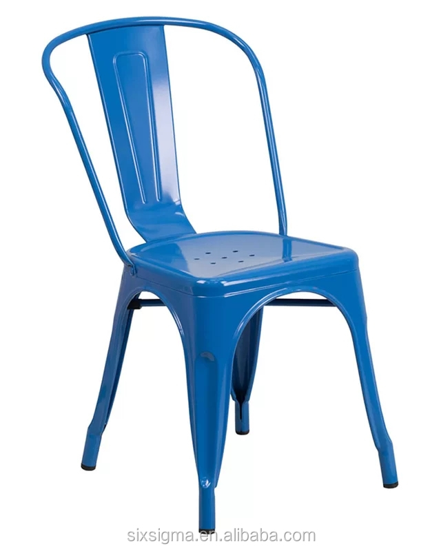 blue powder coated stackable iron indoor & outdoor chair