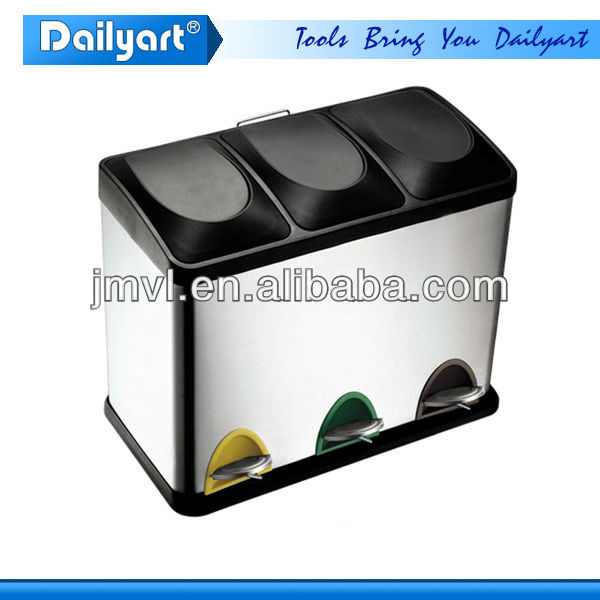 2015 new style recycled square 3 compartment trash bin