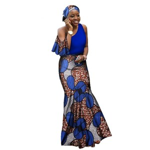 217 Autumn African dresses for women Ankara Traditional Clothing Stitching Batik Wax Print Sleeveless Maxi Dress WY2068