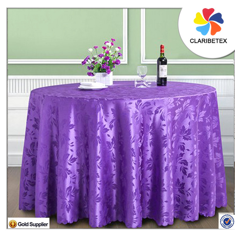 Purple Jacquard Table Linens Round Wedding Table Cloth Polyester Tablecloth