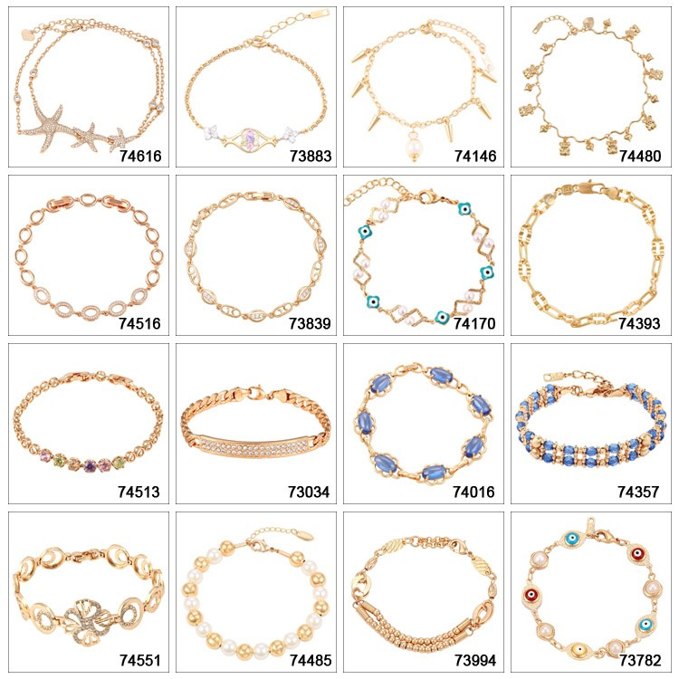 74318 Xuping top selling elegant plastic beads, personalized magnetic clasp gold bead bracelet